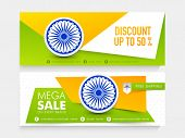 pic of indian independence day  - National tricolor Mega Sale website header or banner set decorated with Ashoka Wheel for Indian Independence Day celebration - JPG