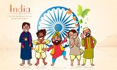 picture of indian independence day  - Creative illustration of different religion men showing their culture and unity on Ashoka Wheel decorated background for Indian Independence Day celebration - JPG