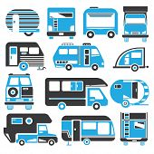 picture of truck-cabin  - set of 13 blue and black camping truck icons - JPG