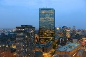 picture of prudential center  - Boston John Hancock Tower and Back Bay Skyline at night - JPG
