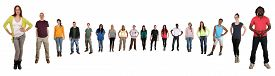 image of semi-circle  - Smiling happy multicultural multi ethnic group of young people standing in semi circle isolated on a white background - JPG