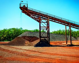 stock photo of iron ore  - conveyor and crushing complex to deliver shredded iron ore - JPG