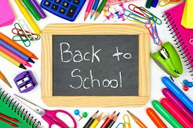 image of chalkboard  - Back to School chalkboard on a white background with school supplies surrounding - JPG