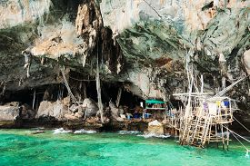 pic of swallow  - A cave in Koh Lao Liang Tai island in Andaman Sea near Phuket used for harvesting swallow - JPG