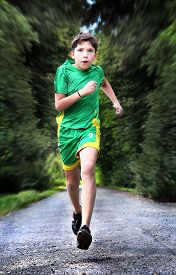 pic of sportswear  - teenager boteenager boy in sportswear run on the country roady in sportswear run on the country road - JPG