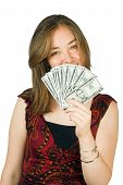 stock photo of snob  - casual happy woman with lots of money on her hands - JPG