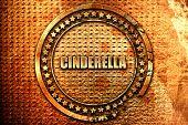 cinderella, 3D rendering, grunge metal stamp poster