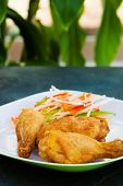stock photo of fried chicken  - Fried chicken served with grated vegetables - JPG