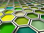 image of paint palette  - fine image 3d of green tone hexagon background - JPG