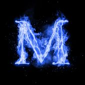Fire letter M of burning blue flame. Flaming burn font or bonfire alphabet text with sizzling smoke  poster