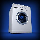 foto of washing machine  - fine image 3d of classic washing machine background - JPG