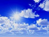 picture of sun rays  - great blue sky background and shiny sun - JPG