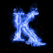 Fire letter K of burning blue flame. Flaming burn font or bonfire alphabet text with sizzling smoke  poster