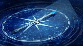 Compass Direction On Digital Code Blue Background. 3d rendering poster