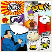 illustration of comic book page in pop art style with superhero, speech bubbles and comic strip on c poster