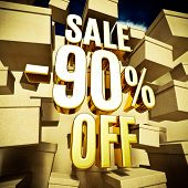 Gold 90 Percent Off Discount 3d Sign with Packaging Boxes Sale Banner Template, Special Offer 90% Of poster