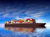 stock photo of container ship  - Large container ship - JPG