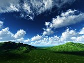 Running Clouds On Green Pastures