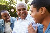 Senior man talking with his adult sons in garden, close up poster