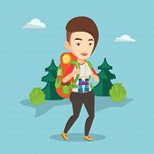 Caucasian backpacker with backpack and binoculars walking outdoor. Backpacker hiking in the forest d poster