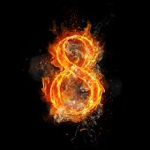 Fire number 8 eight of burning flame. Flaming burn font or bonfire alphabet text with sizzling smoke poster