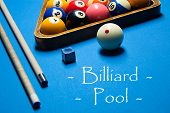 Постер, плакат: Playing Billiard Billiards Balls And Cue On Billiards Table Billiard Sport Concept Pool Billiard