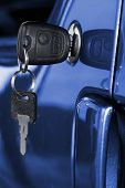 pic of door-handle  - Key at car doors  - JPG