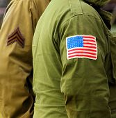 Flag patch on american soldier uniform.