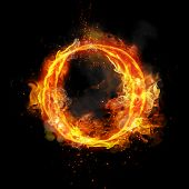 Fire letter O of burning flame. Flaming burn font or bonfire alphabet text with sizzling smoke and f poster