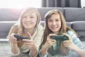 Sisters playing video games in living room poster