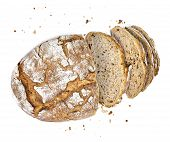 Fresh Rye Bread Or Whole Grain Bread. Isolated Object On White Background. Healthy Baked Bread, Whol poster