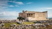 Erechtheion Temple With Caryatid Porch On The Acropolis, Athens, Greece. Famous Acropolis Hill Is A  poster