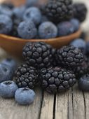 foto of blackberries  - blueberries and blackberries - JPG