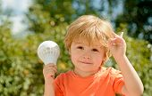 New Idea, Discovery. Smart Little Junior, Childlike Concept. Child With Lightbulb. Success, Bright I poster