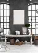 Mock-up Poster Frame In Old Shabby Interior Background, Scandinavian Style, 3d Illustration poster