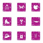 Peaceful Icons Set. Grunge Set Of 9 Peaceful Vector Icons For Web Isolated On White Background poster