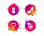 Women Dress Icon. Sexy Shoe Sign. Perfume Glamour Fragrance Symbol. Gradient Circle Buttons With Ico poster