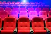 stock photo of movie theater  - Rows of theater seats - JPG