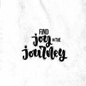 Vector Hand Drawn Illustration. Lettering Phrases Find Joy In The Journey. Idea For Poster, Postcard poster