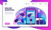 Online Shopping Landing Page. People With Smartphone Doing Internet Payment In On-line Store. Websit poster