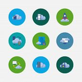 Cloud Service Icons Set. Secure Account And Cloud Service Icons With Virtual Machine, Data Storage A poster