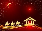 Christian Christmas Theme. Birth Of Jesus, Shining Star And Three Wise Men On Red Background, Illust poster