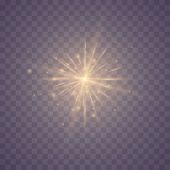 Golden Lights Sparkles Isolated. Vector Illustration Of Glowing Lens Flares And Sparks. Set Of Glowi poster