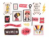 Collection Of Symbols Of Feminism And Body Positivity Movement. Set Of Colorful Stickers With Femini poster
