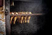 Fish Processing Plant. Fish Of Cold (hot) Smoked. Smoked Fish In Smokehouse Box.  Close Up Smoking P poster