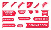 Coming Soon Promo Banners, Stickers And Tag Labels. Vector Isolated Red Pink Shop Or Store Banners A poster