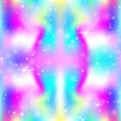 Hologram Background With Rainbow Mesh. Mystical Universe Banner In Princess Colors. Fantasy Gradient poster