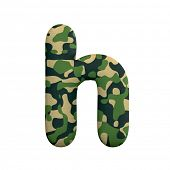 Army letter H - Small 3d Camo font isolated on white background. This alphabet is perfect for creati poster
