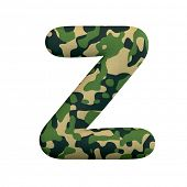 Army letter Z - Capital 3d Camo font isolated on white background. This alphabet is perfect for crea poster