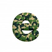 Army letter E - lowercase 3d Camo font isolated on white background. This alphabet is perfect for cr poster